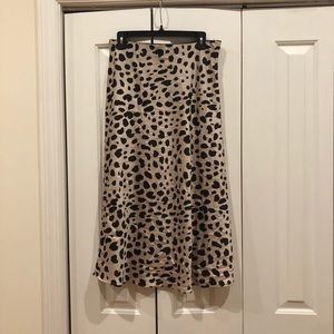 Leopard Print Faux Silk Midi Skirt